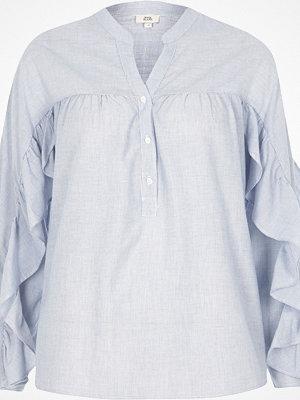 Skjortor - River Island Blue stripe frill sleeve shirt