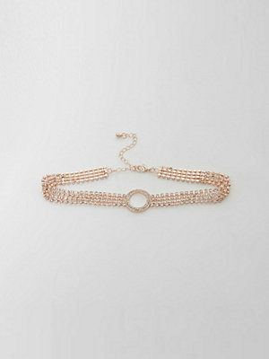 Chokers - River Island Rose gold cup chain pave circle detail choker
