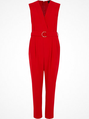 Jumpsuits & playsuits - River Island Red sleeveless tailored jumpsuit