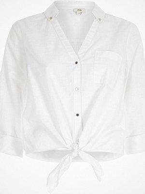 Skjortor - River Island White tie knot front shirt