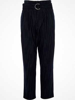 Byxor - River Island Navy stripe high waisted tapered trousers