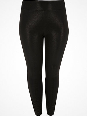 Leggings & tights - River Island Plus black cracked coated leggings