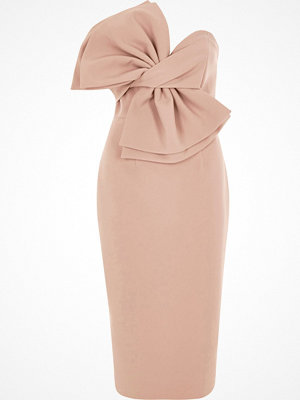 River Island Light Pink bow front bandeau bodycon dress