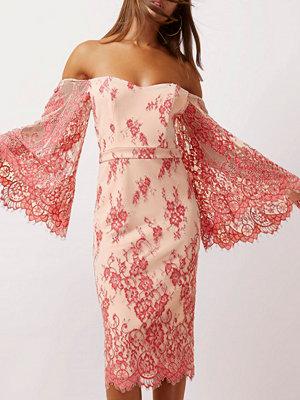 River Island Pink lace flare sleeve bardot bodycon dress
