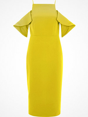 River Island River Island Womens Yellow cold shoulder bodycon dress