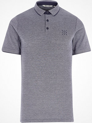 Pikétröjor - River Island Blue Only & Sons tipped polo shirt