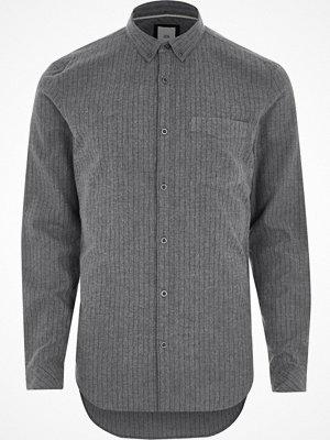 Skjortor - River Island River Island Mens Grey stripe slim fit button-down shirt
