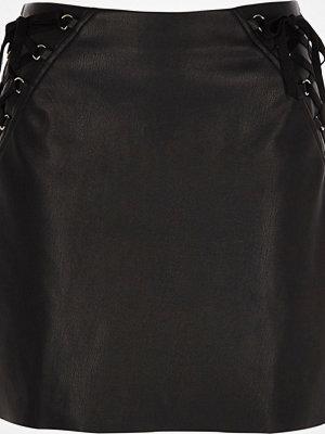 River Island Black faux leather corset mini skirt