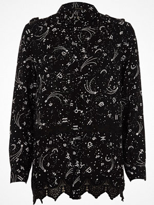 Skjortor - River Island Black zodiac print lace insert shirt