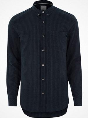 Skjortor - River Island Navy stripe slim fit button-down shirt