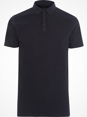 Pikétröjor - River Island Big and Tall navy waffle polo shirt
