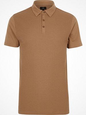 Pikétröjor - River Island Big and Tall light brown waffle polo shirt