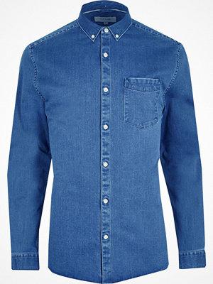 Skjortor - River Island Big and Tall blue button-down denim shirt