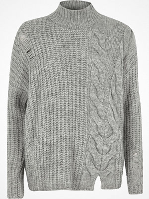River Island River Island Womens Grey mixed cable knit high neck jumper