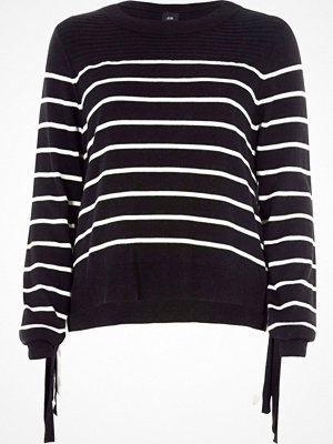 River Island River Island Womens Black stripe knit tie side layered jumper