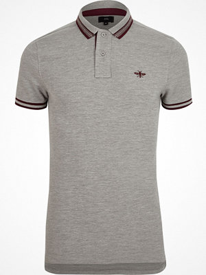 Pikétröjor - River Island Grey marl muscle fit tipped polo shirt