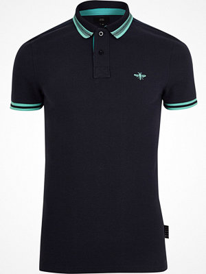 Pikétröjor - River Island Navy muscle fit tipped polo shirt