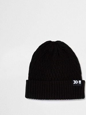 Mössor - River Island Black ribbed fisherman beanie hat