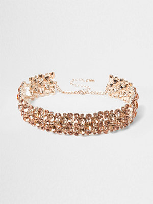 Chokers - River Island River Island Womens Rose Gold tone diamante chain choker