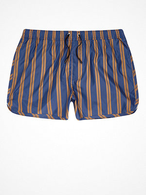 Badkläder - River Island Blue and camel stripe runner swim shorts