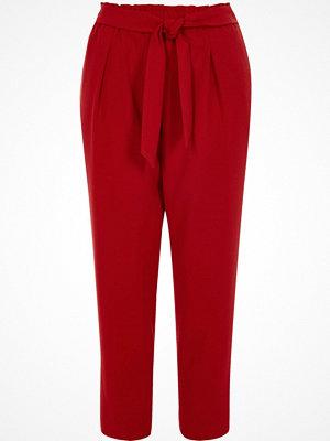 Byxor - River Island Petite dark red tie waist tailored trousers