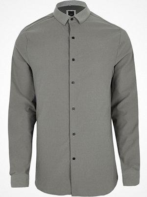 Skjortor - River Island Grey textured long sleeve skinny fit shirt