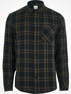 Skjortor - River Island Green check long sleeve shirt