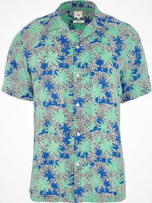 Skjortor - River Island Green palm print short sleeve shirt