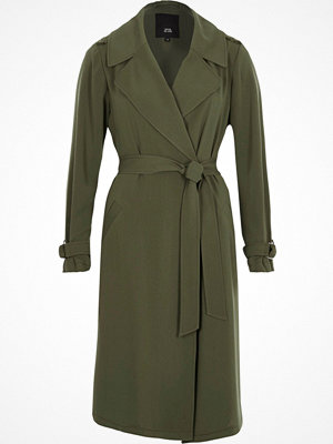 Kappor - River Island Khaki green belted duster trench coat