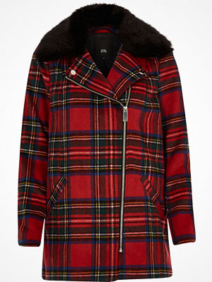 Kappor - River Island Red tartan check biker faux fur collar coat