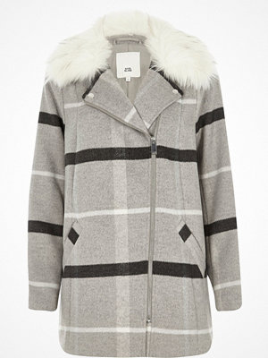 Kappor - River Island Grey check faux fur collar biker coat