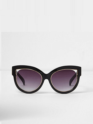 River Island Black cut out gold trim cat eye sunglasses