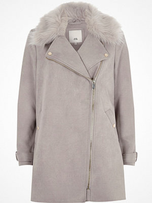 Kappor - River Island Grey faux fur collar swing coat