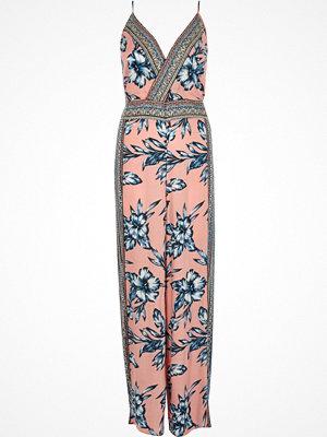 Jumpsuits & playsuits - River Island Pink floral embellished wide leg jumpsuit
