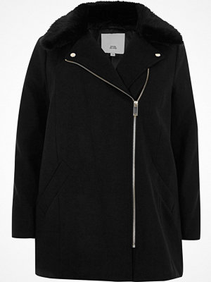 Kappor - River Island Plus black biker faux fur collar coat