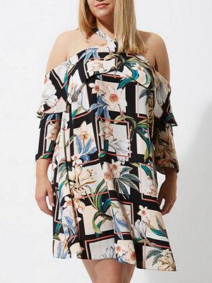 River Island River Island Womens Plus Black floral grid cold shoulder dress