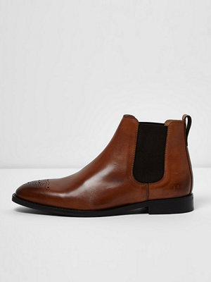 Boots & kängor - River Island Tan brown leather chelsea boots