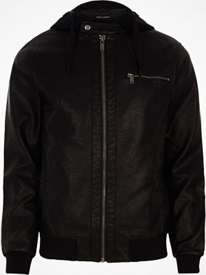 Only and Sons River Island Mens Black Only and Sons faux leather hooded jacket