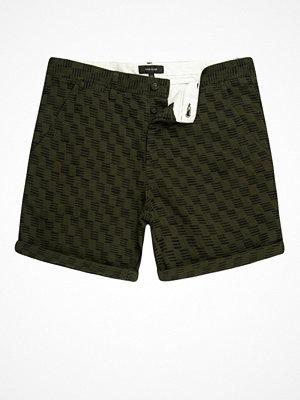 Shorts & kortbyxor - River Island Dark green textured slim fit chino shorts