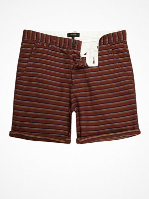 Shorts & kortbyxor - River Island Brown textured stripe slim fit chino shorts
