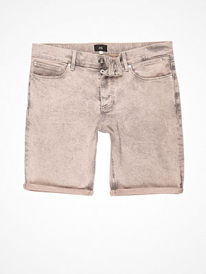 Shorts & kortbyxor - River Island Peach acid wash skinny denim shorts