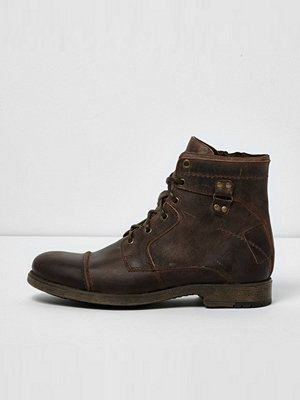 Boots & kängor - River Island Brown leather military boots