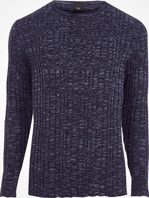 Tröjor & cardigans - River Island Navy rib knit muscle fit crew neck jumper