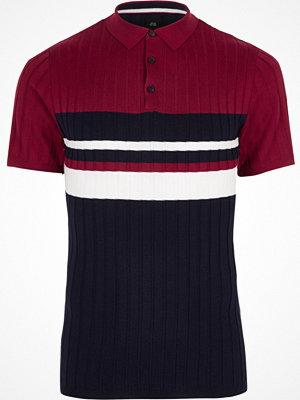 Pikétröjor - River Island Navy block stripe muscle fit polo shirt