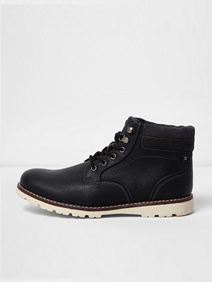 Boots & kängor - River Island Black lace-up contrast sole work boots