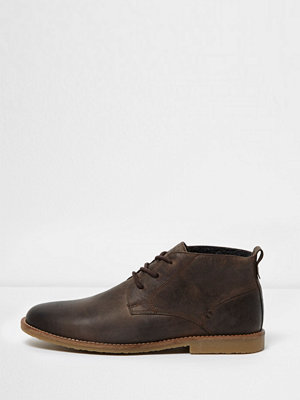 Boots & kängor - River Island Brown leather desert boots