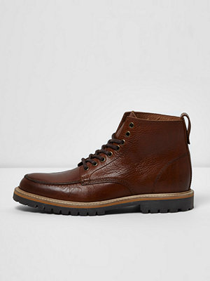 Boots & kängor - River Island Tan brown lace-up leather boots