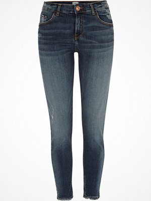 Jeans - River Island Dark blue Alannah ripped relaxed skinny jeans