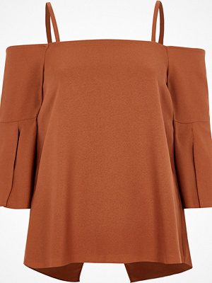River Island River Island Womens Copper split sleeve bardot top