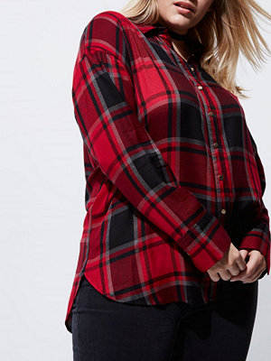 Skjortor - River Island Plus red check bow back shirt